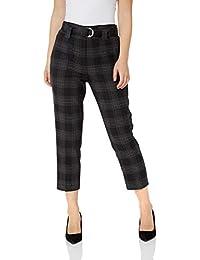 Roman Originals Femme Pantalon A Carreaux avec Ceinture - Automne Hiver  Slim Skinny Tailleur Bureau Classe e3114fe32fb