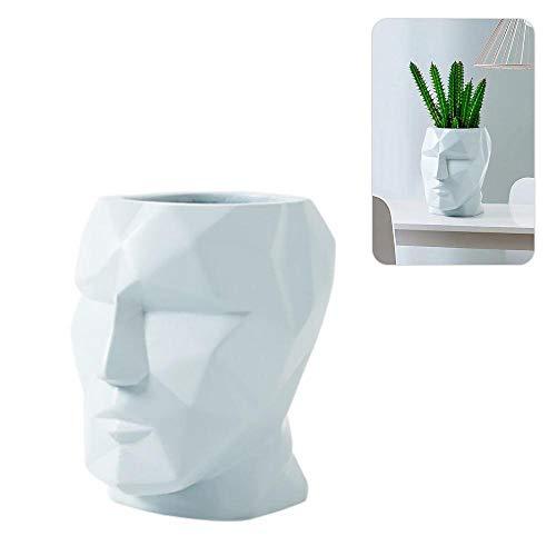 FOONEE Geometric Line Face Vase, Face Modeling Resin Vase Nordic Creative Plant Container Vase Desktop Decoration Suitable for Office Party Wedding Restaurant Home ()