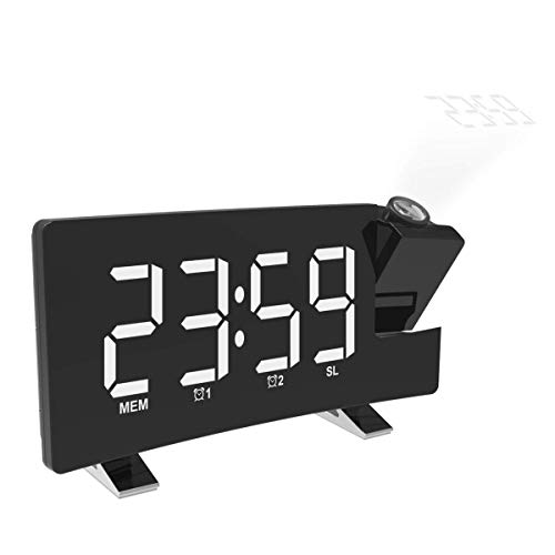mayizhong Projektion Alarm Clock mit USB-Ladefunktion AM/FM Radio, Akku Backup, Auto Time Set, Dual 3,5 mm Audio Input, White (Radio Electrohome Clock)
