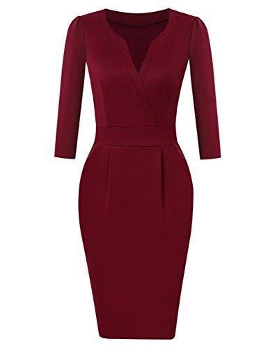 KOJOOIN Damen Elegant Etuikleider Knielang Langarm Business Kleider Rot Bordeaux Weinrot M