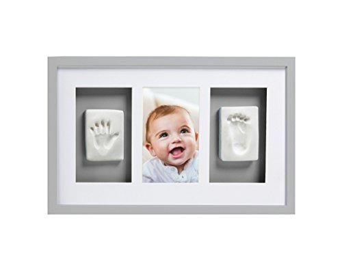 Pearhead P63001 Baby Abdruck Deluxe Wand-Bilderrahmen mit inbegriffenen Set zur Erstellung von Hand / Fußabdruck, perfektes Shower Geschenk Andenken, grau