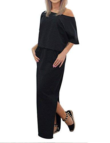 ISASSY Damen Sommerkleid Kleider Maxikleid Lang Kleid Partykleid BOHO-Abendkleid Schwarz
