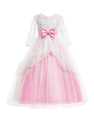 Besbomig Kinder Brautkleider Mädchen Kleider 3-14 Jahre mit Ärmeln - Spitze Schwanz Rock Backless Halloween Party Kostüm - Rosa - 140 (Rosa Belle Kleid)