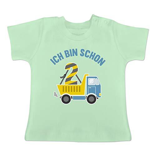Geburtstag Baby - Ich Bin Schon 2 LKW - 18-24 Monate - Mintgrün - BZ02 - Baby T-Shirt Kurzarm -