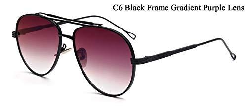 WDDYYBF Sonnenbrillen, Piloten Sonnenbrille Männer Reflektierende Gespiegelt Aviation Sonnenbrille Männlich DREI Strahlen Schattierungen Brillen Uv400 Lila Objektiv