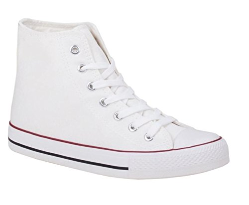 King Of Shoes Herren Sneakers Freizeit Turnschuhe High Top Schuhe (41, Weiß)