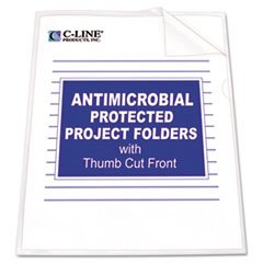 C-Line Antimicrobial Project Folders, Jacket, Ltr, Polypropylene, Clear, 25/pk by C-Line