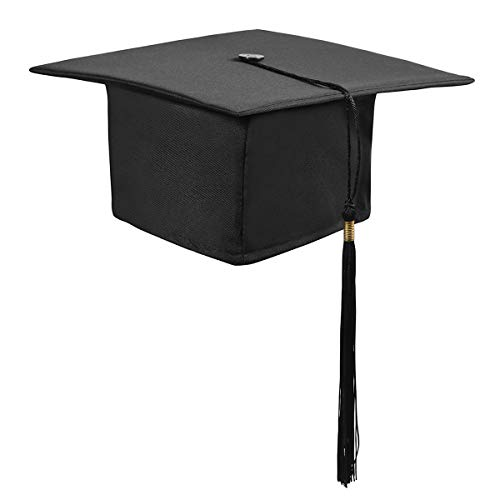 Trencher Board (TENDYCOCO Erwachsener Student Matt Graduation Cap Mörtel Board Graduation Hat mit Quaste (schwarz))