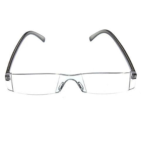 SODIAL(R) Trendige Lesebrille Nerd Brille Lesehilfe Sehhilfe Modern Design Randlos +2.5