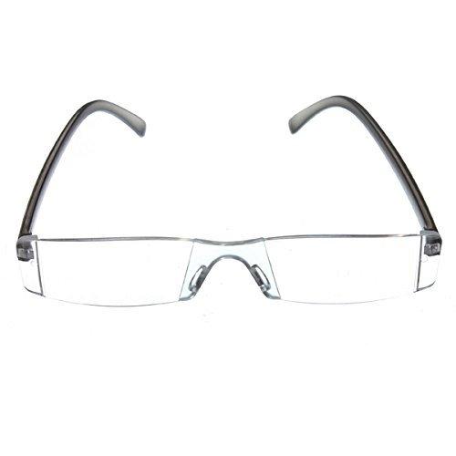 SODIAL(R) Trendige Lesebrille Nerd Brille Lesehilfe Sehhilfe Modern Design Randlos +2.0