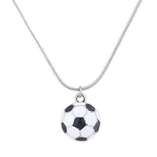 LUX Zubehör Silvertone Fußball Mom Sport Neuheit Anhänger Halskette (Fußball-neuheit)