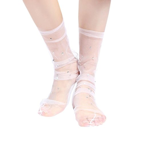 Frauen Mode Glitter Star Soft Mesh Socke Transparente Elastische Sheer Knöchelsocke Frau Mesh Garn Sterne Socken HKFV - Rosa Glitter Kostüm Strumpfhosen