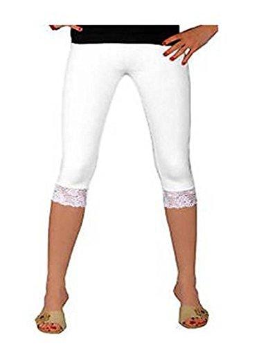 Mädchen Cotton Lycra Crop 3/4 Stretch-Qualität Spitze Leggings für Casual / Sport / Aktiv(3125lace) (3-4 Jahre, weiß) (Leggings Stretch Crop)