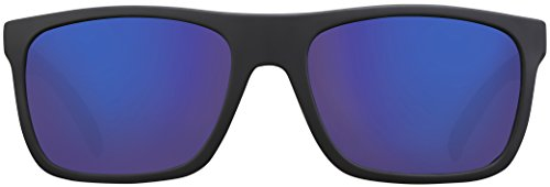 Sonnenbrille UV 400 La Optica Herren Männer Leicht Sport Fahrradbrille - Gummiert Schwarz (POLARISIERTE Gläser: Blau verspiegelt)