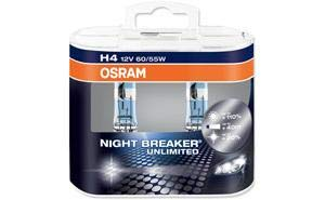 OSRAM NIGHT BREAKER UNLIMITED H4, Lampe de phare halogène, 64193NBU-HCB, 12V véhicule de tourisme, boîte duo (2 pièce)