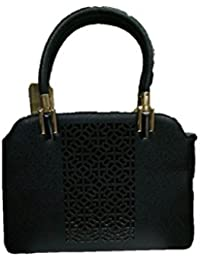 Just Bag Women's Leather BLACK Leather Hand Bag (jb-8)