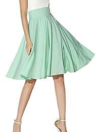 e5663f506b Verano Moda para Mujer Color Plisado Retro Elegante Sólido Playa Clásico  Falda Chicos hasta La Rodilla