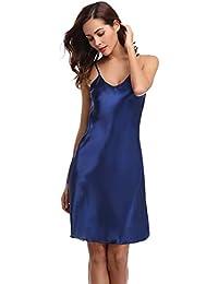 Aibrou Damen Nachthemd Sexy Negligee Satin Nachtkleid Kurz Sommer Nachtwäsche Sleepwear Trägerkleid V Ausschnitt