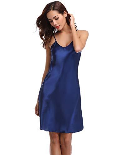 Aibrou Damen Sexy Negligee Nachthemd Satin Nachtkleid Nachtwäsche Unterwäsche Sleepwear Kurz Trägerkleid V Ausschnitt Blau XXXL