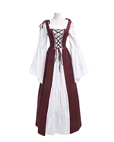 (DianShaoA Damen Mittelalter Kleider Viktorianischen Königin Kleid Cosplay Kostüm Langarm Kleid-Gothic Jahrgang Prinzessin Renaissance Bodenlänge Burgunderrot L)