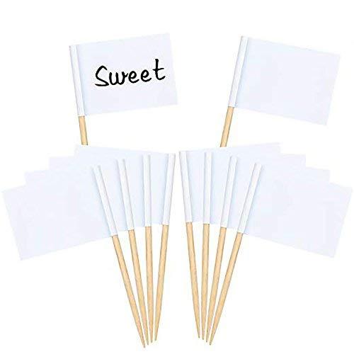 Aneco Lot de 200 vierge cure-dents drapeaux Décor Fromage Blanc Cocktail drapeaux pour fête Décoration pour gâteaux de douche Set a