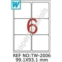 TANEX TW-2006 etichette-bottiglia bianco 99,1 x 93,1 mm -arrotondate- 10-fogli A4