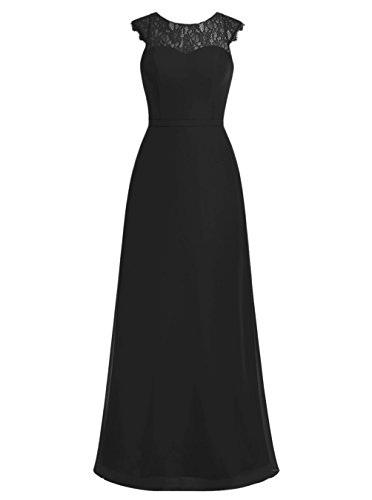 Dresstells, Robe de soirée Robe de mère de mariée Robe de demoiselle d'honneur mousseline dentelle longueur ras du sol Noir