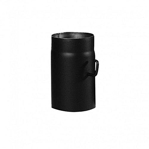 Kamino Flam Ofenrohr mit Drosselkappe in Schwarz, Rauchrohr aus Stahl für sichere Ableitung von Abgasen, hitzebeständige Senotherm Beschichtung, geprüft nach Norm EN 1856-2, Maße: L 250 x Ø 130 mm