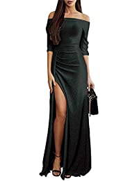 b34a5b7513a9 ORANDESIGNE Donna Vestito Lungo Sexy Senza Spalline Manica a 3 4 Abito da  Sera Elegante