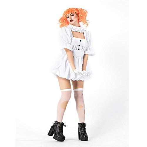 (Shisky Cosplay kostüm Damen, Halloween Vampir Geist Braut Ghost Puppe Kostüm cos Leistung weißes Kleid Dress)