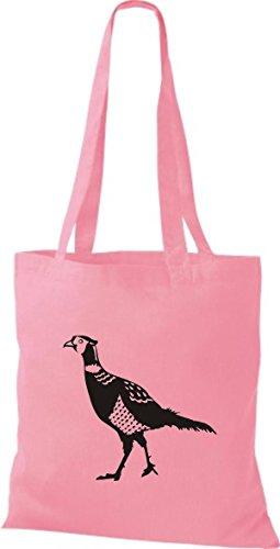 Shirtstown Stoffbeutel Tiere Fasan Pheasant, Huhn Rosa