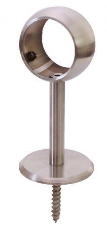 Edelstahl Handlaufstütze mit Ring 42,4 mm inkl. Stockschraube und Dübel, V2A (S010452)