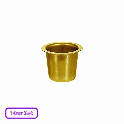 Kerzenhalter konisch Echt-Messing 22mm - perfekte Tülle für Spitzkerzen, Größe:Tülle 10er Set