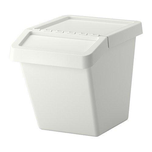 Ikea Sortera Abfalleimer mit Deckel, Plastik, Weiß, 55 x 39 x 45 cm