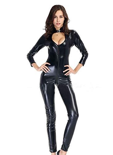 SEXCATS Frauen Wet Look Lackleder Catsuit ärmelloser Reißverschluss Unitard Büste Reißverschluss Crotch Babydoll Chemise Body Jumpsuits ()