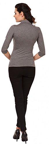 Zeta Ville - Top de grossesse col roulé - couches d'allaitement - femme - 987c Gris Chiné