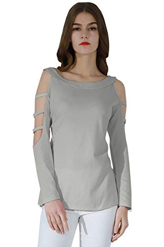 YMING Damen Shirt Große Größe Langarmshirt Rundhals Oberteile Casual T-Shirt,Hell Grau,XXXXL