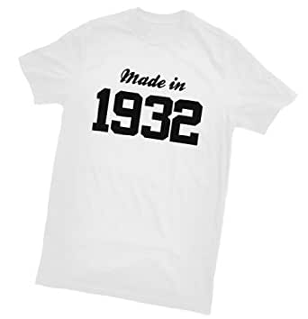 Made in 1932 T-Shirt - fun birthday gift - wrapping and gift message service available - white - all sizes (ladies size 8)