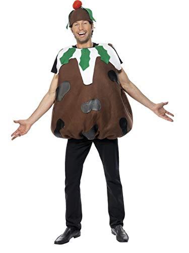 costumebakery - Herren Frauen Männer Kostüm Weihnachtspudding Pudding Überzieher und Hut, Christmas Pudding, perfekt für Weihnachten Karneval und Fasching, One Size, Braun