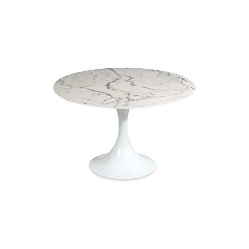Homy Esstisch Rund Weiß Marmoroptik Sockel Weiß Wohnzimmertisch - Ovad - Runde Sockel-esstisch