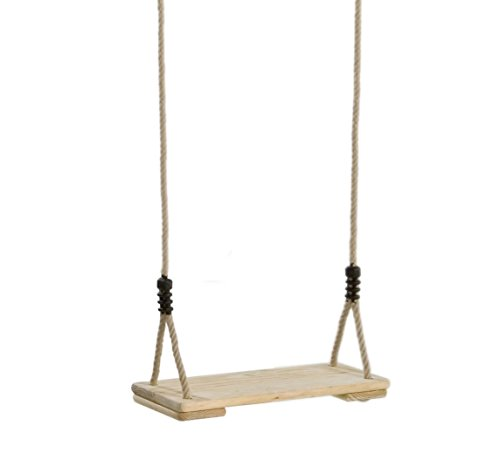Garden Games traditionelle Holzschaukel aus Kiefer, mit Poly-Hanf-Seilen, natürliche Haptik (Outdoor-traditionellen Swing)