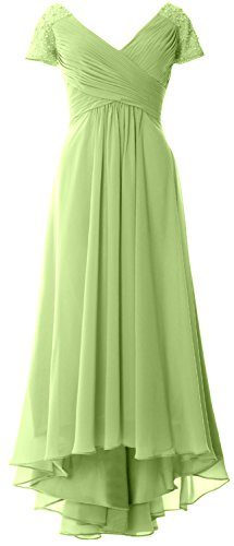 MACloth Cap Sleeves V Neck High Low Mother of Bride Dress Evening Formal Gown Pistachio