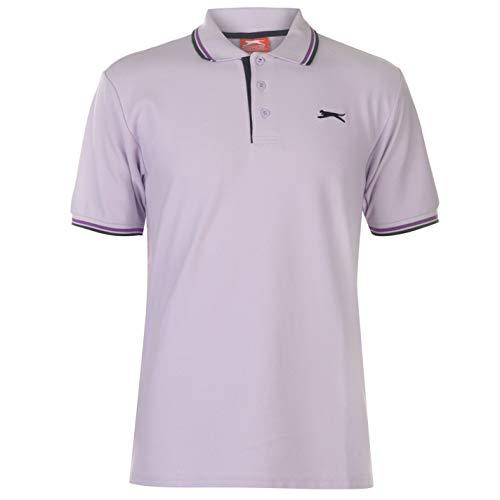 Slazenger Tipped Herren Polo Poloshirt T Shirt Kurzarm Classic Fit Tee Flieder XL (Kragen T-shirts Mit)