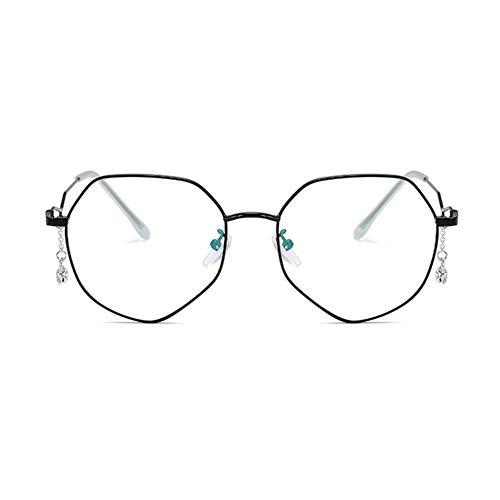 Z&HA Frauen Anti-Blau-Strahlung Brille Nicht Verschreibungspflichtigen Optischen Rahmen Transparente Linsen Vintage Diamant Anhänger Unregelmäßigen Rahmen Brillen,Black