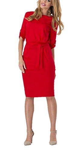 DELEY Femmes Retro Slim Bodycon Moitié Manches Bureau des Affaires Cocktail Robe de Mariée Rouge