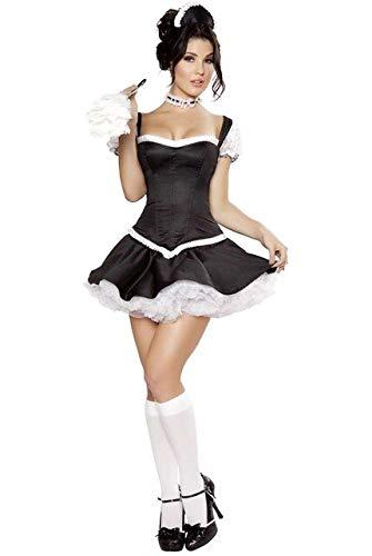 Flirty Fifi French Maid Costume Adult Sexy Halloween French Maid Dress Costume for Women L Black (Fifi Für Erwachsenen Kostüm)
