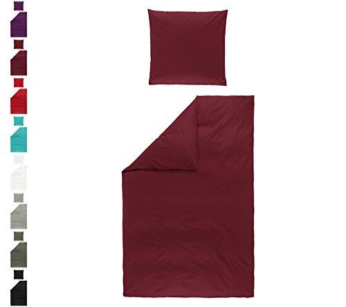 Niceprice Renforcé Bettwäsche Garnitur 100% Baumwolle mit RV in vielen Farben 4tlg Set 135x200 + 80x80 cm Bordeaux