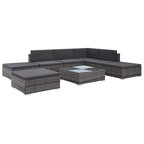 Tidyard divano da esterno set 20 pz, set divano da giardino, mobili da giardino completi, grigio e grigio scuro