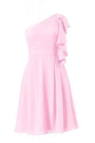daisyformals une épaule en mousseline de soie robe de mariée vintage robe de cocktail (BM261) Rose - #20-Ice Pink