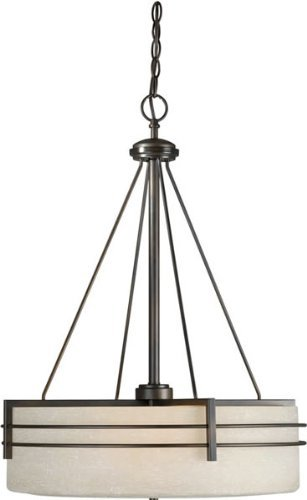Forte Lighting 2489-04-32 Contemporary 4-Light Pendant with Umber Linen Glass, Antique Bronze Finish by Forte Lighting -